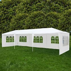 Uenjoy 10'x30′ Canopy Party Wedding Tent Event Tent Outdoor Gazebo White 5 Sidewalls