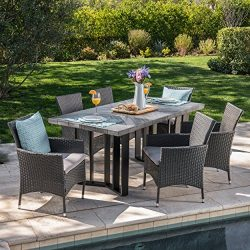 Truda Outdoor 7 Piece Grey Wicker Dining Set with Textured Grey Oak Finish Light Weight Concrete ...