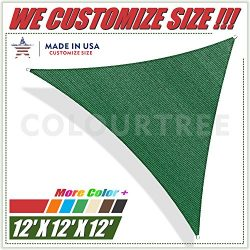 ColourTree 12′ x 12′ x12′ Sun Shade Sail Triangle Green Canopy Awning Shelter  ...