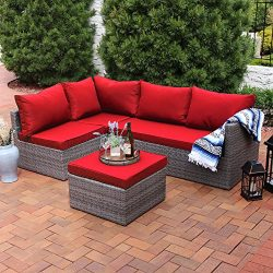 Sunnydaze Port Antonio Wicker Rattan 4-Piece Patio Sofa Sectional Set with Dark Red Cushions