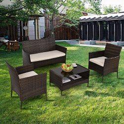 Patio Furniture Sets Clearance Conversation 4 Piece Waterproof Outdoors Wicker (Beige)