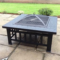 FCH 32″ Metal Fire Pit Outdoor Backyard Patio Garden Square Stove Brazier with Charcoal Ra ...