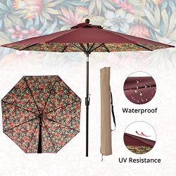 LCH 9 Ft 8 Ribs Outdoor Umbrella Patio Backyard Deck Sturdy Pole Tilt Easily Crank Open with Cov ...