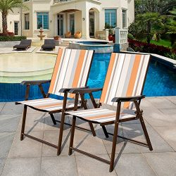 Sundale Outdoor Beach Yard Pool Sling Back Chairs Patio Recliner Garden Folding Chairs Space Sav ...