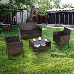Premium Patio USA Patio Furniture Sets Clearance Conversation 4 Piece Waterproof Outdoors Wicker ...