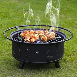 Kinbor 30-Inch Portable Wood Burning Iron BBQ Backyard Patio Garden Fire Pit with Cooking Grill, ...