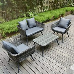 Pamapic 4 Piece Outdoor Patio Wicker Furniture Sets with Cushions 【Unique Design with Round Rat ...