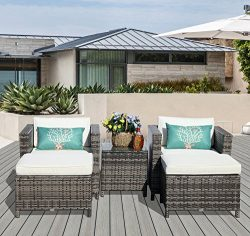 PATIOROMA Outdoor Patio Furniture Set(5-Piece Set) All-Weather Grey Wicker with Cushions & G ...