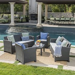 Great Deal Furniture Jacob Outdoor 5 Piece Charcoal Faux Wicker Rattan Style Chat Set with Sofa  ...