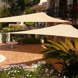 Shade&Beyond Sun Shade Sail Triangle 12'x12'x12′ Sand UV Block for Yard Pa ...