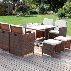 Homall 9 Piece Patio Furniture Dining Set Clearance Patio Wicker Rattan Table and Chairs Set Out ...
