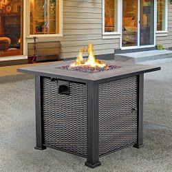 Nuu Garden Outdoor Patio LP propane 30 Inch Square Gas Fire Pit Table AF001, 50,000 BTU