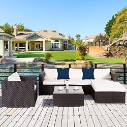 Cloud Mountain 6 Piece Rattan Wicker Furniture Set Outdoor Patio Garden Sectional Sofa Set Cushi ...