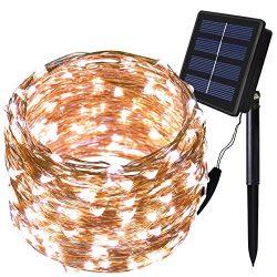 Solar String Lights – Solarmks Outdoor String Lights 150 LED Fairy Lights Waterproof White ...