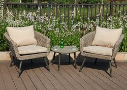 PHI VILLA 3 Piece Outdoor Patio Rattan Wicker Sofa Barrel Chairs and Polywood Round Coffee Table ...