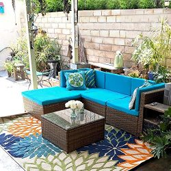 IKAYAA Outdoor Patio Furniture Set, 5 Piece Wicker Rattan Sectional Sofa Set with Soft Cushions, ...