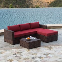 AURO Outdoor Furniture Sectional Sofa Set (5-Piece Set) All-Weather Brown Wicker with Water Resi ...