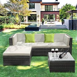 IKAYAA Outdoor Patio Furniture Set, 5 Piece Wicker Rattan Garden Sectional Sofa with Soft Cushio ...