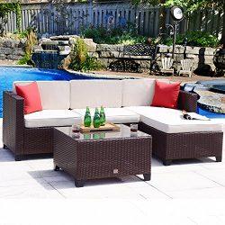 Cloud Mountain 5PC Rattan Wicker Sofa Set Cushioned Sectional Conversation Set Outdoor Garden Pa ...