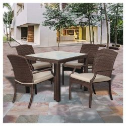Miami Beach 5pc Wicker Patio Dining Set – Brown