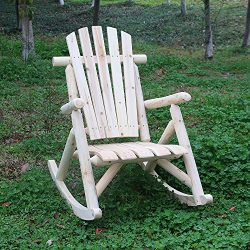 KdGarden Cedar/Fir Log Adirondack Rocking Chair – Comfortable Patio Lounge Chair for Outdo ...