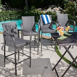 Dunedin Outdoor Grey Wicker Barstools (Set of 4)