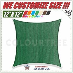ColourTree 12′ x 12′ Sun Shade Sail Square Green Canopy Awning Shelter Fabric Cloth  ...