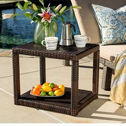 Patio Dinning Table Clearance, End/Accent Outdoor Bedside Furniture for Living Room, Small Brown ...