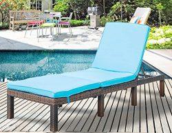 Leisure Zone Patio Furniture Outdoor Adjustable PE Rattan Wicker Chaise Lounge Chair Sunbed (Blu ...