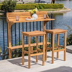 Great Deal Furniture Cassie Outdoor 3 Piece Natural Finish Acacia Wood Balcony Bar Set