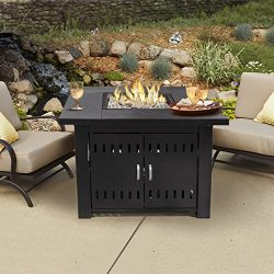 XtremepowerUS Out door Patio Heaters LPG Propane Fire Pit Table (Black)