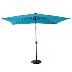 FLAME&SHADE Solar Power LED Light Outdoor Patio Market Umbrella 6'6″ x 10′ ...