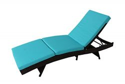 Outdoor Patio Brown Rattan Wicker Adjustable Cushioned Chaise Lounge Chair(Turquoise Cushion)