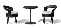Lourde Living Gold Collection Apia 3 Piece Swivel Rattan Wicker and Aluminum Outdoor Patio Bistr ...