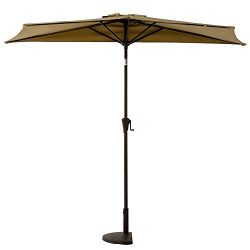 FLAME&SHADE 9ft Half Patio Umbrella Outdoor Market Parasol with Crank Lift, Push Button Tilt ...