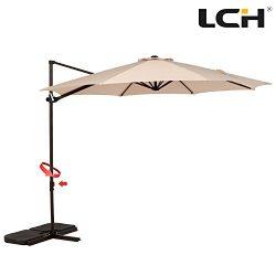 LCH 10ft Offset Cantilever Umbrella Outdoor Patio Backyard Market, Easy Open Lift, Cross Base St ...