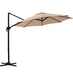 SUPERJARE 10 FT Offset Hanging Umbrella, Outdoor Patio Cantilever with Tilt Canopy, Crank Lift & ...
