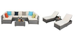 Do4U 7 Pieces Outdoor Rattan Sofa Wicker Sectional Patio Furniture set + 3 Pcs Outdoor Patio Rat ...