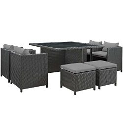 Modway EEI-1946-CHC-GRY-SET Set, Dining For Nine, Gray