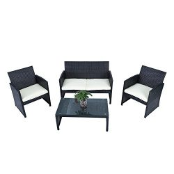 4-Piece Garden PE Rattan Wicker Sofa Set Cushion Outdoor Patio Sofa Couch Furniture, Black