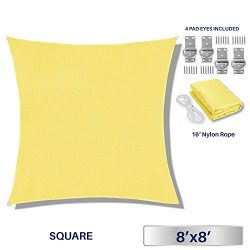 Windscreen4less 8′ x 8′ Square Sun Shade Sail – Solid Canary yellow Durable UV ...