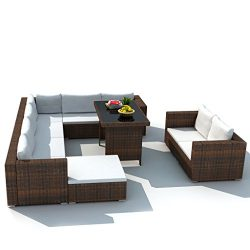 Festnight 28 Piece Patio Dining Lounge Set Outdoor Sectional Sofa Furniture Set with Cushions as ...