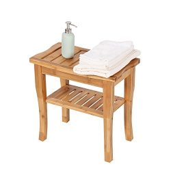 Peach Tree Home Bamboo Shower Seat Bench Spa Bath Deluxe Organizer Stool With Storage Shelf For  ...