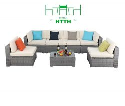 HTTH 3-7 Pieces Patio PE Rattan Wicker Sofa Sectional Furniture Set Outdoor Sofas (7 pcs – A)
