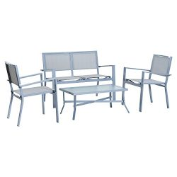 Outsunny 4 piece Outdoor Patio Conversation Set Sling Sofa Chair Seating Set – Grey