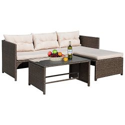 Flamaker 3 Piece Patio Set Rattan Sofa and Chaise Lounge, Cushioned Wicker Furniture Set for Gar ...