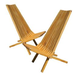 GloDea X45P1VAS2 Lounge Chair, Varnish, Set of 2