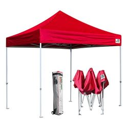 Eurmax 10 x 10 Ez Pop Up Canopy Tent Commercial Instant Shelter with Hevay Duty Roller Bag (Red)