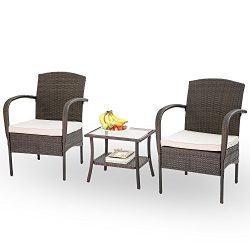 Hq 3 PC Rattan Patio Furniture Set Garden Lawn Wicker Patio Furniture Cushioned Seat Wicker Chai ...