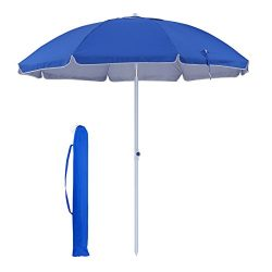 SONGMICS UPF 50+ 7 ft Heavy Duty Beach Umbrella, Silver UV Coating Portable Outdoor Umbrella Can ...